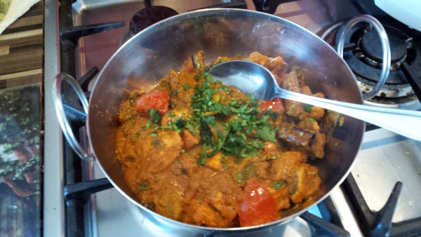 Remaining coriander sprinkled over the top of the Balti